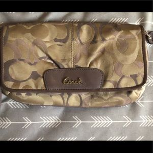 Coach Bags - Purple and taupe COACH wallet/clutch